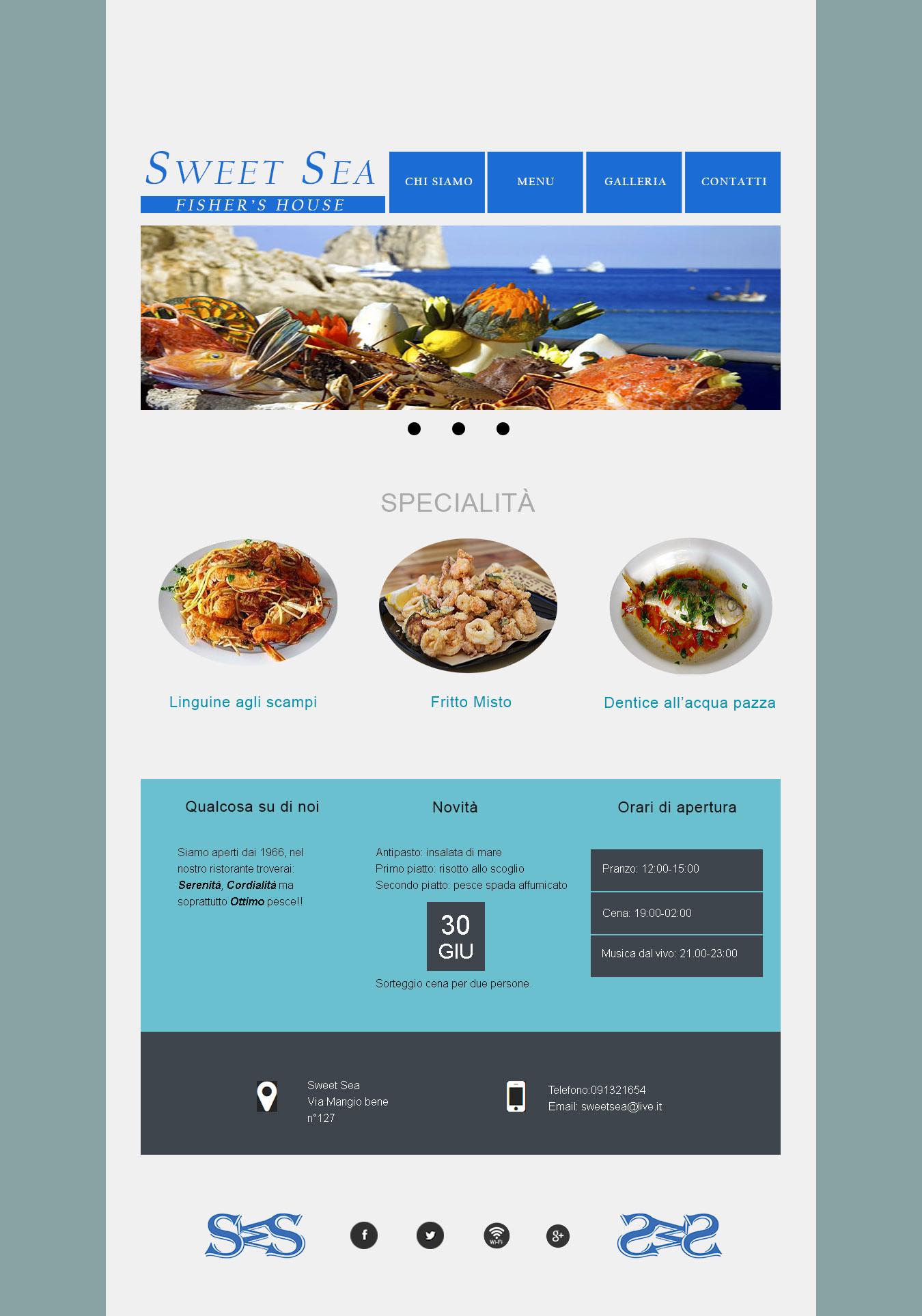 Bozza Layout per il mio sito Sweet Sea in psd