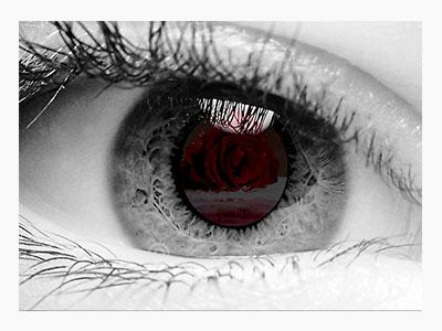 lavoro in doppia esposizione con photoshop (occhio-rosa rossa)